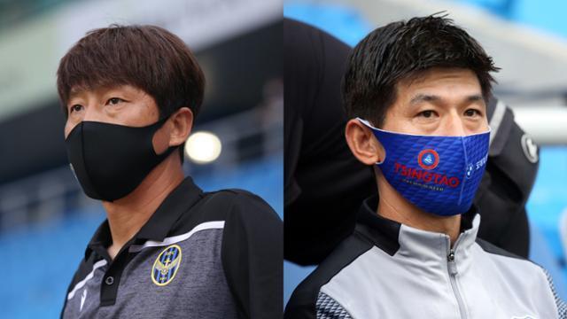 임중용(왼쪽) 인천 수석코치와 주승진 수원 감독대행. 프로축구연맹 제공