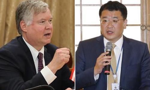 스티븐 비건 미 국무부 부장관(왼쪽)과최종건 외교부 1차관. 연합뉴스