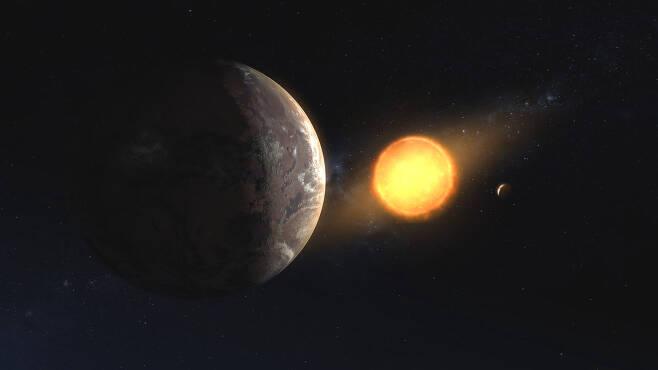 주항성 케플러-1649를 공전하고 있는 행성 케플러-1649c의 모습. 이 외계행성 역시 이번 스웨덴 연구진의 모형에서 잠재적으로 지구와 비슷한 환경을 지닌 것으로 나타났다.(사진=NASA/아메스연구센터/대니얼 러터)