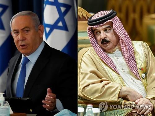 베냐민 네타냐후 이스라엘 총리(왼쪽)와 하마드 이븐 이사 알칼리파 바레인 국왕(오른쪽).[AFP=연합뉴스]
