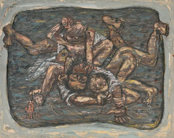 이중섭의 작품 '아버지와 장난치는 두 아들'.