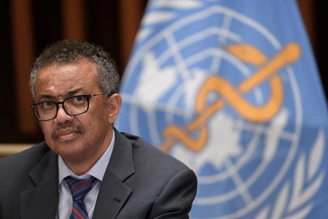 세계보건기구(WHO) 테워드로스 아드하놈 거브러여수스 사무총장이 7월 3일 스위스 제네바 WHO 본부에서 열린 기자회견에 참석하고 있다. 제네바=로이터 연합뉴스