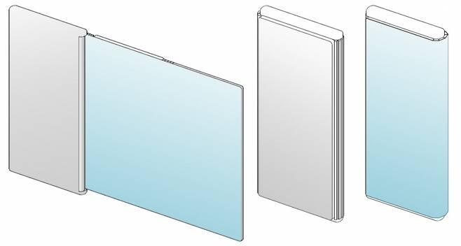 LG전자 롤러블폰 관련 특허 속 제품 모습. 화면이 돌돌 말리지 않고 제품 뒷면으로 말려 들어가는 형태다.