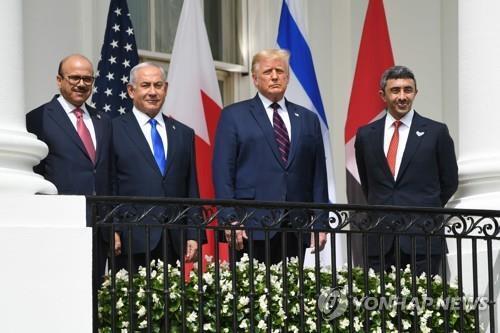미국 백악관에서 열린 이스라엘과 아랍에미리트, 바레인의 관계 정상화 협정 서명식 [AFP=연합뉴스]