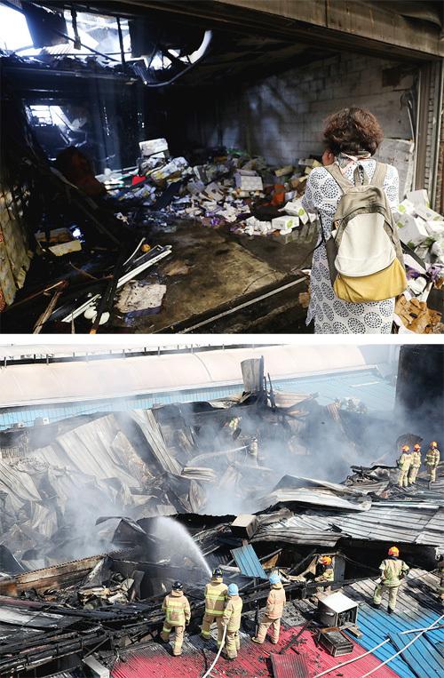 추석 연휴를 앞둔 21일 오전 서울 동대문구 청량리 청과물시장에서 한 상인이 불에 새카맣게 타버린 자신의 가게를 보며  눈물을 흘리고 있다. 이날 새벽에 발생한 화재로 시장 내 점포 224곳 중 19곳이 소실됐다(위쪽 사진). 소방당국은 불이 난 지  3시간 만인 오전 7시 19분경 큰 불길은 잡았지만 오후까지 잔불을 정리했다. 뉴스1·양회성 기자 yohan@donga.com