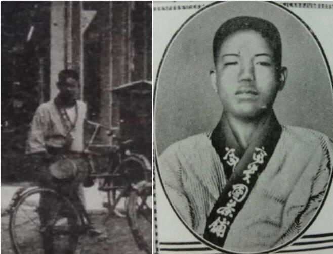 1920년대 대만 타이중 지광(繼光)거리 모습 사진 속에 우연히 등장한 조명하 의사의 모습을 확대한 사진(왼쪽)과 조 의사가 의거 직후 체포되고 나서 찍힌 사진(오른쪽). 두 사진 속에 등장하는 인물은 모두 찻집 부귀원 근무복을 입고 있다. 오른쪽 사진 속 조 의사는 체포 및 조사 과정에서 구타를 당한 듯 얼굴이 심하게 부어 있다. [대만 사료 수집가 '추혜문고' 린위팡 씨·김상호 교수 제공·연합]