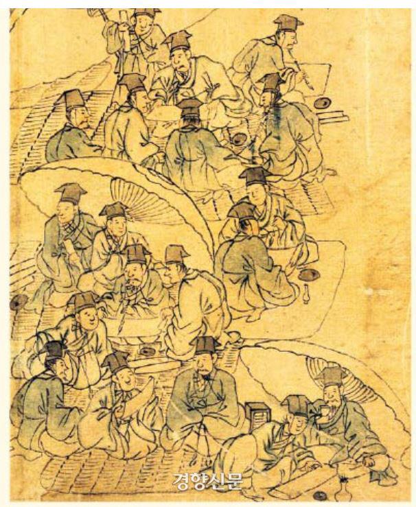 <평생도> 중 '소과응시'. 김홍도의 풍속도에서 보는 것 같은 입시비리의 모습이 적나라하게 보인다. |국립중앙박물관 소장