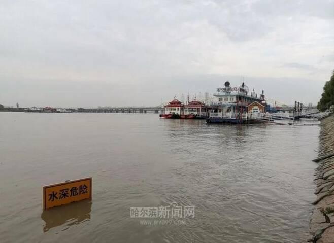 22일 헤이룽장성 쑹화장 유역 홍수 발생 [하얼빈신문망 캡처. 재판매 및 DB 금지]