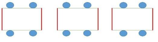 테이블간 가림막 예시 (빨간색 실선-가림막) [중앙사고수습본부 제공. 재판매 및 DB 금지]
