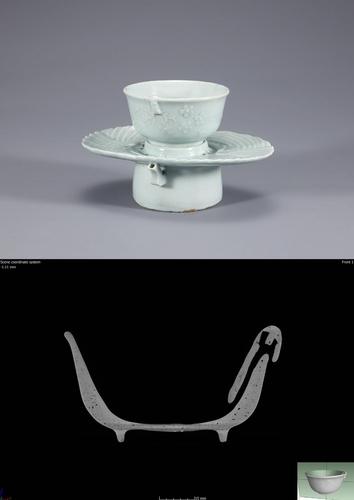 백자 양각 쌍학무늬 계영배 및 CT 이미지 [국립중앙박물관 제공. 재판매 및 DB 금지]