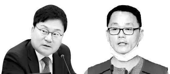 이상직 무소속 의원(왼쪽)과 박이삼 이스타항공 조종사 노조위원장. [뉴스1, 연합뉴스]