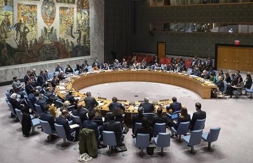 유엔 안전보장이사회 회의 모습. 유엔 안보리는 15개 이사국으로 구성되는데 그중 미국·러시아·중국·영국·프랑스 5개국은 상임이사국 지위를 갖는다.연합뉴스