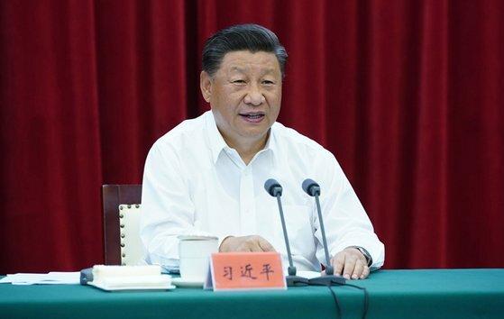 시진핑 중국 국가주석이 지난달 20일 안후이성 허페이에서 장강(長江) 지역 발전을 도모하는 좌담회를 주재하고 있다. [중국 인민망 캡처]