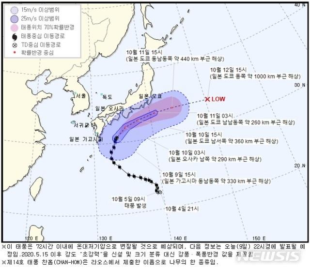 [서울=뉴시스] = 9일 오후 제14호 태풍 '찬홈'(CHAN-HOM)이 일본 부근 해상을 지나가면서 우리나라 해안 일부 지역에도 풍랑특보가 내려졌다. 2020.10.09. (사진=기상청 제공)