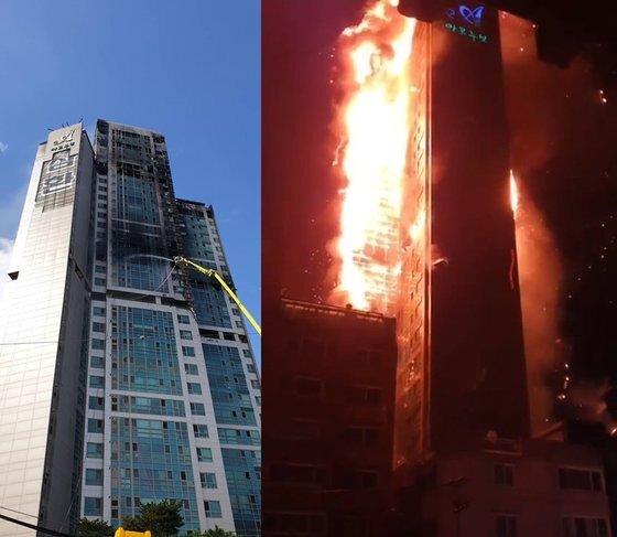 울산의 33층짜리 주상복합아파트 화재. 중앙포토·연합뉴스