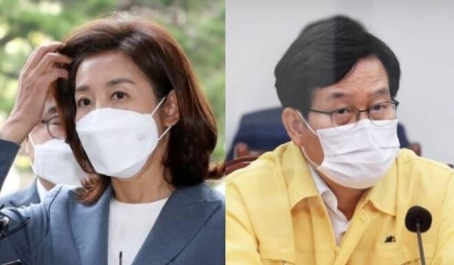나경원 전 국민의힘 의원 vs 신동근 더불어민주당 최고위원 - 뉴스1·서울신문