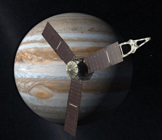 목성과 탐사선 주노의 그래픽 이미지