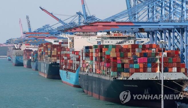 선박 줄지어 선 부산 신항 [연합뉴스 자료사진]