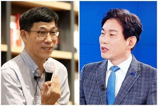 진중권(왼쪽) 전 동양대 교수와 박진영 더불어민주당 상근부대변인. 페이스북