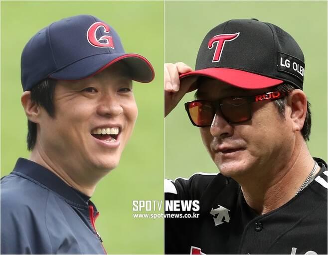 ▲ 롯데 허문회 감독(왼쪽)과 LG 류중일 감독. ⓒ SPOTV NEWS