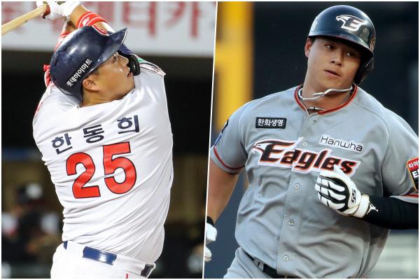 롯데 한동희(왼쪽)와 한화 노시환. 연합뉴스