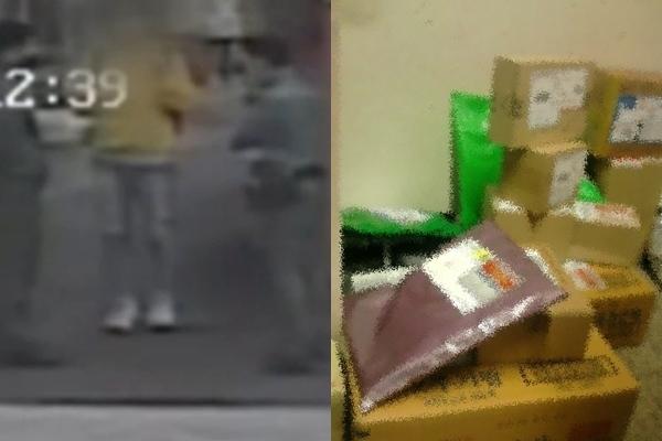 여성 혼자 사는 집 앞에 놓인 택배를 가져가 몹쓸 짓을 한 20대 남성(왼쪽 사진 가운데)이 경찰에 붙잡혔다.