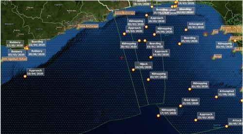 서아프리카 가나 해역 한국인 피랍 추정 지점(+ 표시) [드라이어드 글로벌 캡처, 재판매 및 DB 금지]