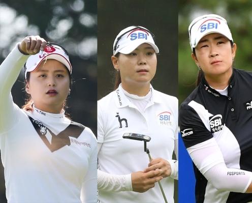 2020년 한국여자프로골프(KLPGA) 투어 휴엔케어 여자오픈 골프대회에 출전한 최혜진, 이소미, 김아림 프로가 최종일 우승 경쟁을 예고했다. 사진제공=KLPGA