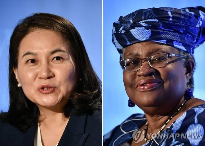 WTO 수장 선거 최종결선에 오른 유명희·오콘조이웨알라 세계무역기구(WTO) 사무총장 선거에서 결선에 진출한 유명희 한국 산업통상자원부 통상교섭본부장과 응고지 오콘조이웨알라 전 나이지리아 전 재무·외무장관이 2020년 7월 15∼16일 스위스 제네바에서 각각 출마 기자회견을 할 당시의 모습. [AFP·연합뉴스 자료사진]