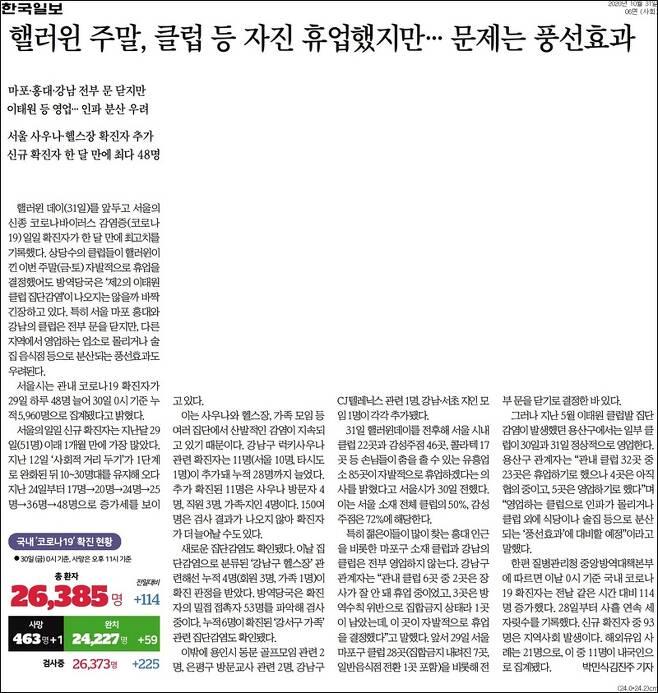 ▲31일자 한국일보 6면.