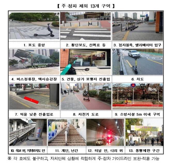 전동 킥보드 쉐어링 서비스 주·정차 제외 구역 (4차위 제공) © 뉴스1