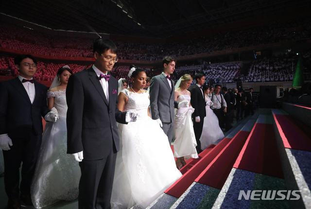 【가평=뉴시스】조수정 기자 = 국제 합동축복결혼식 모습.. 2018.08.27. chocrystal@newsis.com