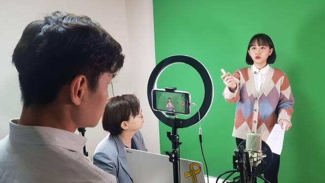▲ 뭉클 미디어인권연구소의 '노으른자' 유튜브 콘텐츠 촬영 현장.