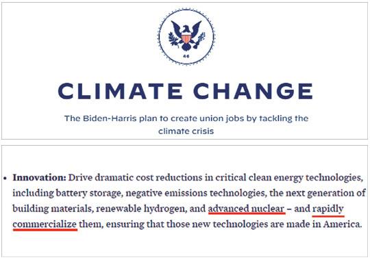 """조 바이든 미국 대통령 당선인의 인수위원회 홈페이지 '우선순위(priorities)' 코너에 있는 '기후변화' 정책란에 """"재생 수소, 차세대 원자력 등을 신속하게 상용화하겠다""""는 내용이 담겨 있다. 바이든 인수위 홈페이지 캡처"""
