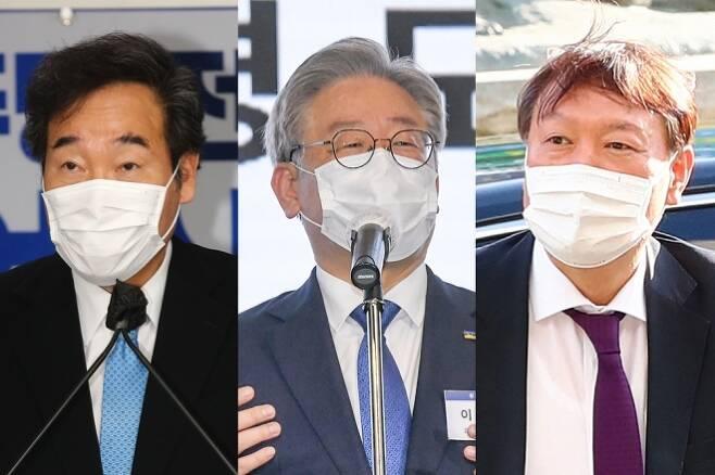 이낙연 더불어민주당 대표, 이재명 경기도지사, 윤석열 검찰총장 ⓒ연합뉴스