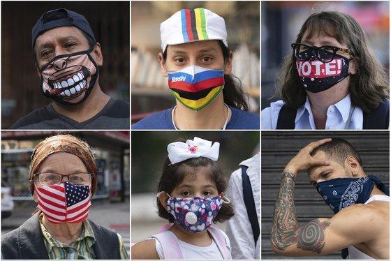 마스크를 착용한 뉴욕 시민들의 모습. AP=연합뉴스