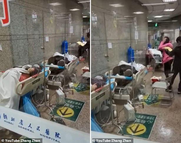 3월 1일에는 하루 감염자 수가 급감했다는 공식 발표가 나온 직후 후베이성 인민병원이 환자들로 북적이는 모습.(사진=장잔/유튜브)