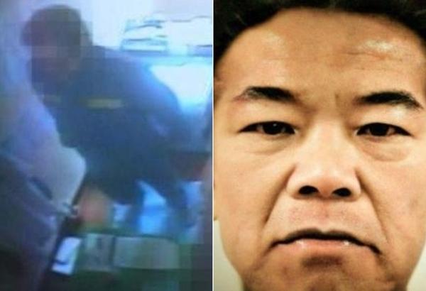 경북북부 제1교도소 독방에 수감된 조두순의 2010년 3월 16일 CCTV 화면(왼쪽). 오른쪽은 한 네티즌이 컬러로 복원한 조두순의 모습.