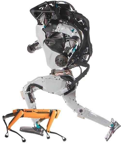미국 보스턴 다이내믹스가 선보인 4족 보행이 가능한 로봇개 '스폿' (왼쪽 사진)과 2족 보행 로봇 '아틀라스'. 동아일보DB