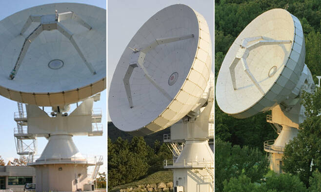 사진 왼쪽부터 KVN 울산전파천문대, KVN 탐라전파천문대, KVN 연세전파천문대.한국천문연구원 제공