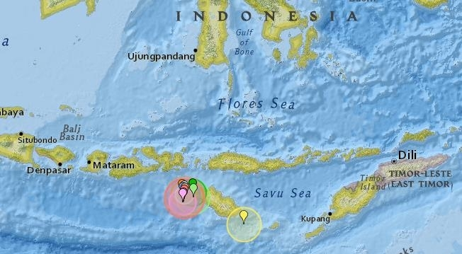 8월부터 인도네시아 숨바섬에 발생한 지진 표시 [Earthquake Track 홈페이지 캡처]