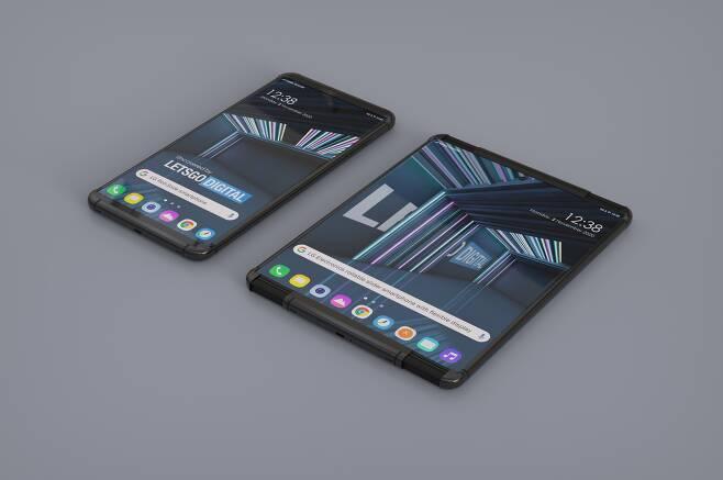 LG전자가 내년 상반기에 내놓을 것으로 에측되는 롤러블(말리는) 스마트폰 제품 렌더링(컴퓨터 그래픽 이미지).레츠고디지털 제공