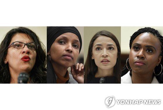 왼쪽부터 러시다 털리브, 일한 오마, 알렉산드리아 오카시오코르테스, 아이아나 프레슬리 연하원의원 미디어와 지지자들은 소수민족 여성 의원인 이들을 스쿼드로 부르며 열광한다. AP=연합뉴스