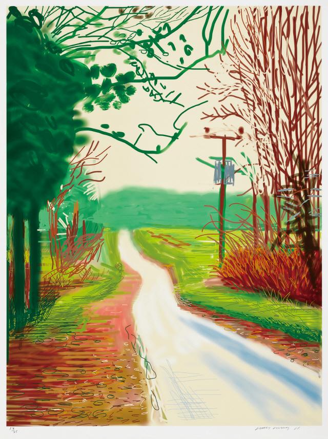 데이비드 호크니의 아이패드 풍경화 '월드게이트 숲에 도착한 봄, 2011년 동부 요크셔'. 추정가는 8,000만~1억5,000만원. /사진제공=서울옥션