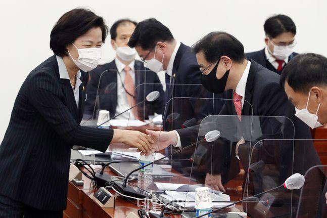 추미애 법무부 장관(왼쪽)과 이현 변호사가 지난 13일 오전 서울 여의도 국회에서 열린 공수처후보자추천위원회 2차회의에 참석해 인사를 나누고 있다. ⓒ데일리안 박항구 기자