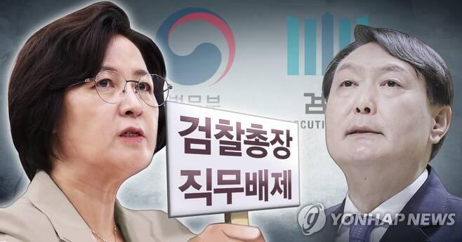 추미애 장관, 윤석열 검찰총장 직무배제 명령 (PG) [장현경 제작] 일러스트