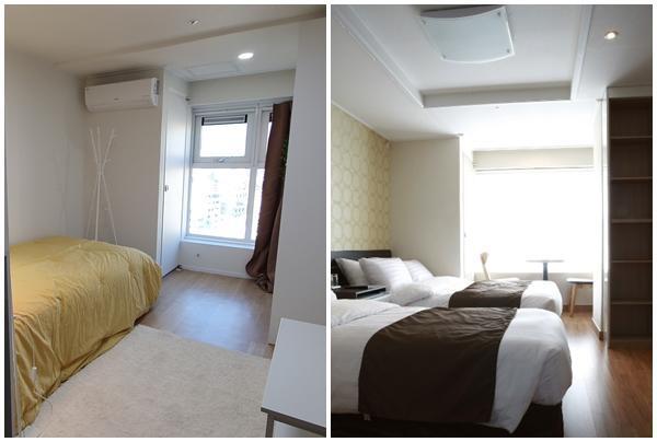 호텔을 개조한 안암생활의 기본형 방과 기존 호텔 방 모습. 김지섭 기자, 아고다 홈페이지 캡처