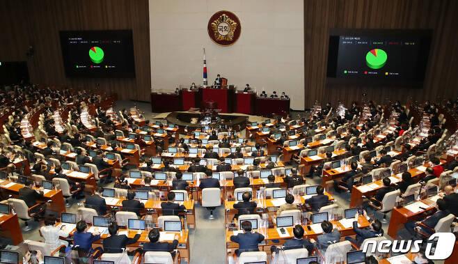 2일 오후 국회에서 열린 제382회 국회 정기회에서 2021년도 예산안이 가결되고 있다. 2020.12.2/뉴스1 © News1 성동훈 기자