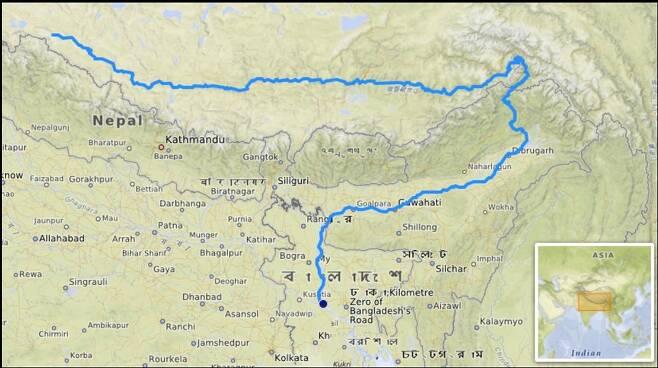 중국-인도-방글라데시를 관통하는 브라마푸트라강의 위치. [위키피디아 홈페이지 캡처]