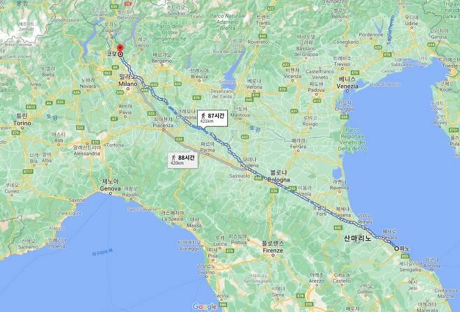 '포레스트 검프'를 연상케하는 이탈리아 남성이 걸은 거리. [구글맵 갈무리. 재판매 및 DB 저장 금지]
